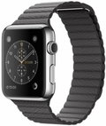 AppleApple Watch 42mm ステンレススチール/ストームグレイレザーループ Mサイズ MMFX2J/A