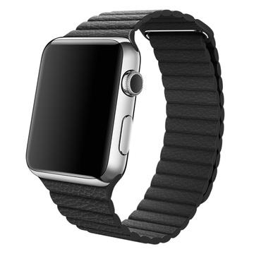 じゃんぱら apple watch 42mm ステンレススチール ブラックレザーループ