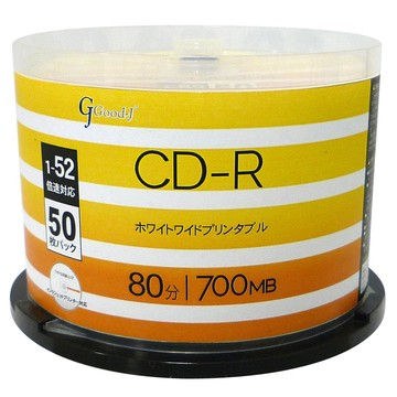 Good-JALCR52X50PW CD-R 52倍速 50枚スピンドル プリンタブル