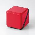ELECOMASP-SMP220BRD 3.5φスピーカー/キューブ型/アンプ内蔵/300mW×2/電池式/ブラック×レッド