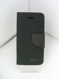 LibraLBR-SECD8BK iPhoneSEキャンバス手帳風カバー(黒)