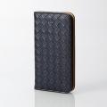 ELECOMPM-A16SPLFMBK iPhone SE/5s/5用ソフトレザーカバー/編み込み ブラック