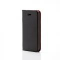 ELECOMPS-A12PLFUBKN iPhone SE/5s/5用 薄型ソフトレザーカバー ブラック