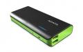 A-DATAAPT100-10000M-5V-CBKGR 10000mAhモバイルバッテリー 入力2A 出力2.1A+1A 2ポート ブラック/グリーン